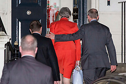 Prime Minister Theresa May and her husband Philip arrive at Conservative Party HQ in Westminster, London, as votes are being counted in the 2017 General Election.