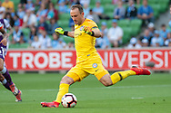 MELBOURNE, VIC - JANUARY 19: Melbourne City goalkeeper Eugene Galekovic (18) kicks the ball at the Hyundai A-League Round 14 soccer match between Melbourne City FC and Perth Glory at AAMI Park in VIC, Australia 19th January 2019. Image by (Speed Media/Icon Sportswire)