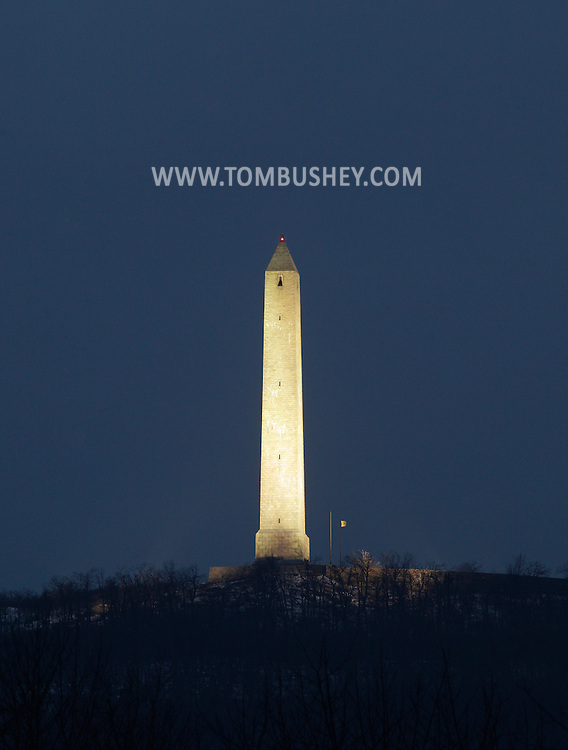 Wantage, New Jersey - A view of the monument at High Point State Park on  Dec. 31, 2010. The monument is located on the highest elevation in the state at 1,803 feet. The 220-foot tower was built in 1930 to commemorate the war dead.