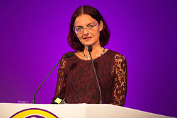 © Licensed to London News Pictures . 25/09/2015 . Doncaster , UK . HELLE HAGENAU speaks at the 2015 UKIP Party Conference at Doncaster Racecourse . Photo credit : Joel Goodman/LNP