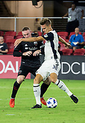 WASHINGTON, DC - AUGUST 29: Philadelphia Union defender Jack Elliott (3) gets the ball from D.C. United forward Wayne Rooney (9) during a MLS match between D.C United and the Philadelphia Union on August 29, 2018, at Audi Field, in Washington, DC. <br /> The Philadelphia Union defeated DC United 2-0.<br /> (Photo by Tony Quinn/Icon Sportswire)