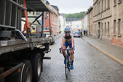 Tayler Wiles (USA) of UnitedHealthcare Cycling Team celebrates winning Stage 5 of the Lotto Thuringen Ladies Tour - a 108.3 km road race, starting and finishing in Greiz on July 17, 2017, in Thuringen, Germany. (Photo by Balint Hamvas/Velofocus.com)