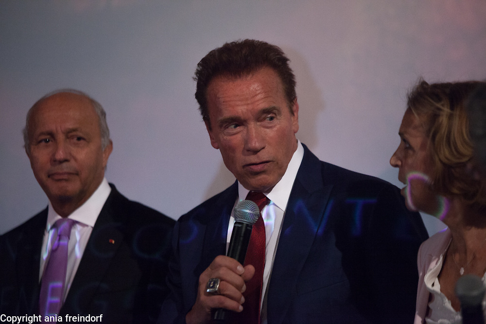 """Arnold Schwarzenegger and Laurent Fabius, presenting the documentary film """"Wonders of the sea"""", produced by Arnold Schwarzenegger and Francois Montello, directed by Jean-Michel Cousteau and Jean-Jacques Montello, with the support of R20, Di Caprio Fondation and Green Cross, Paris, France"""