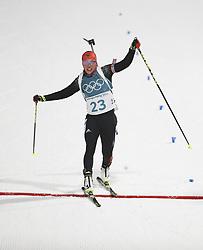 PYEONGCHANG, Feb. 10, 2018  Germany's Laura Dahlmeier crosses the finishing line of the women's 7.5 km sprint biathlon event on the 2018 Pyeongchang Winter Olympic Games at Alpensia Biathlong Centre, PyeongChang, South Korea, Feb. 10, 2018. Laura won the gold medal in a time of 21:06.2. (Credit Image: © Bai Xuefei/Xinhua via ZUMA Wire)