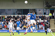 Colchester United midfielder Brandon Comley in a tackle with the opponentduring the EFL Sky Bet League 2 match between Macclesfield Town and Colchester United at Moss Rose, Macclesfield, United Kingdom on 28 September 2019.