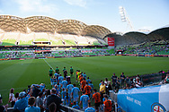 MELBOURNE, VIC - JANUARY 11: A general view as players walk out at the Hyundai A-League Round 13 soccer match between Melbourne City FC and Brisbane Roar FC at AAMI Park in VIC, Australia 11th January 2019. (Photo by Speed Media/Icon Sportswire)