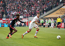 19.03.2016, Rhein Energie Stadion, Koeln, GER, 1. FBL, 1. FC Koeln vs FC Bayern Muenchen, 27. Runde, im Bild vl. Kingsley Coman (Muenchen, #29), Jonas Hector (Koeln, #14) // during the German Bundesliga 27th round match between 1. FC Cologne and FC Bayern Munich at the Rhein Energie Stadion in Koeln, Germany on 2016/03/19. EXPA Pictures © 2016, PhotoCredit: EXPA/ Eibner-Pressefoto/ Horn<br /> <br /> *****ATTENTION - OUT of GER*****