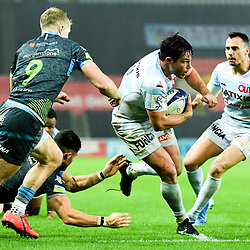 Henry Chavancy of Racing 92 goes between Aled Davies and Morgan Morris of Ospreys to score try during the European Rugby Challenge Cup, Pool 4 match between Ospreys and Racing 92 on December 7, 2019 in Bristol, United Kingdom. (Photo by Paul Lockyer / Icon Sport) - Liberty Stadium - Swansea (Pays de Galles) - Liberty Stadium - Swansea (Pays de Galles)