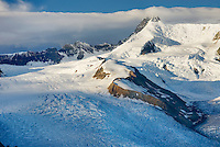 Aerial view of the Mount Blackburn Regal Mountain glacial complex, Wrangell-St. Elias National Park Alaska