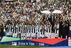May 19, 2018 - Turin, Italy - Juventus team poses in order to be photographed during prize giving ceremony after the Serie A football match n.38 JUVENTUS - VERONA on 19/05/2018 at the Allianz Stadium in Turin, Italy. (Credit Image: © Matteo Bottanelli/NurPhoto via ZUMA Press)