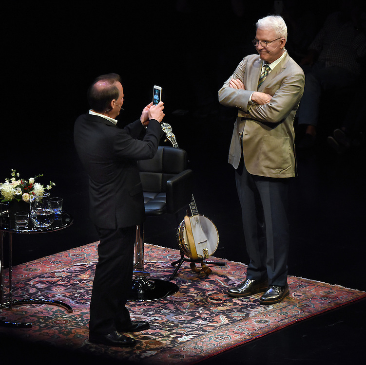 After a conversation between writer Adam Gopnik and comedian/writer/performer Steve Martin on the Main Stage at Long Wharf Theater, New Haven, CT.