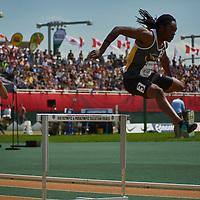 Khalil Parris competes in the Senior Men's 400m Hurdles at the Athletics Canada 2016 Olympic Trials at Foote Field, Edmonton.