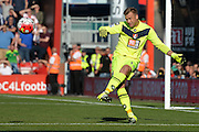 AFC Bournemouth's Goalkeeper Artur Boruc takes goal kick during the Barclays Premier League match between Bournemouth and Sunderland at the Goldsands Stadium, Bournemouth, England on 19 September 2015. Photo by Mark Davies.