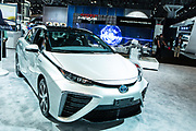 New York, NY - 12 April 2017. The 2017 Toyota Mirai, a hydrogen fuel-cell powered sedan with a range of 312 miles. The hydrogen fuel cell produces no carbon emissions.