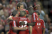 Photo: Paul Thomas.<br /> Liverpool v PSV Eindhoven. UEFA Champions League. Quarter Final, 2nd Leg. 11/04/2007.<br /> <br /> Peter Crouch and Liverpool celebrate his goal.