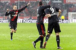 05.12.2010,  BayArena, Leverkusen, GER, 1. FBL, Bayer Leverkusen vs 1. FC Koeln, 15. Spieltag, im Bild: Torjubel / Jubel nach dem 1:0 durch Patrick Helmes (Leverkusen #9) (re.) mit Tranquillo Barnetta (Leverkusen #7) (mi.) und Michael Kadlec (Leverkusen #24) (li.)  EXPA Pictures © 2010, PhotoCredit: EXPA/ nph/  Mueller       ****** out ouf GER ******