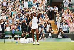 © Licensed to London News Pictures. 01/07/2019. London, UK. Cori Gauff United States of America wins her 1st round ladies singles against Venus Williams of United States of America at the Wimbledon Tennis Championships 2019 on day 1 held at the All England Lawn Tennis and Croquet Club.