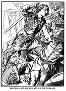 Hereward the Wake, 11th century Anglo-Saxon leader, attacking Peterborough Abbey in 1070 in protest at William I's imposition of a Norman abbot. Eponymous hero of Charles Kingsley novel of 1866. Early 20th century woodcut.