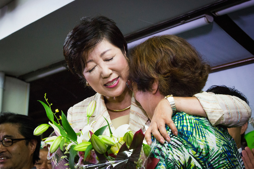 TOKYO, JAPAN - JULY 31 : Yuriko Koike, newly elected governor of Tokyo, celebrates after she speaks in a news conference after winning the Tokyo gubernatorial election at her office in Tokyo, Japan, on Sunday, July 31, 2016. Yuriko Koike a Liberal Democratic Party lawmaker and former defense minister is the first women to be elected as a Governor of Tokyo. (Photo: Richard Atrero de Guzman/NURPhoto)