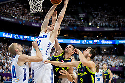 Lauri Markkanen of Finland vs Gasper Vidmar of Slovenia and Goran Dragic of Slovenia during basketball match between National Teams of Finland and Slovenia at Day 3 of the FIBA EuroBasket 2017 at Hartwall Arena in Helsinki, Finland on September 2, 2017. Photo by Vid Ponikvar / Sportida