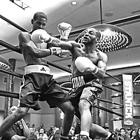 DAYTONA BEACH, FL - FEBRUARY 08:  Stevie Massey (R) punches Marcus Coney during their boxing match at Hard Rock Hotel Daytona on February 8, 2020 in Daytona Beach, Florida. (Photo by Alex Menendez/Getty Images) *** Local Caption *** Stevie Massey; Marcus Coney