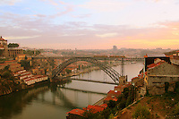 Ponte Dom Luis I over Rio Douro,  linking Porto with Vila Nova de Gaia on two levels..Porto, Portugal