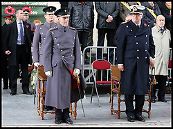 The Duke of Edinburgh with the HRH Prince Laurent of Belgium at the Menin Gate in Ypres, Belgium, at a ceremony on Armistice Day to mark the gathering of soil for the Flanders Fields Memorial Garden at the Guards Museum in London, Monday, 11th November 2013. Picture by Stephen Lock / i-Images