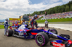 July 8, 2017 - Spielberg, Austria - Carlos Sainz of Spain and Toro Rosso driver has engine problem during the 3rd practice session on Austrian F1 GP at Red Bull Ring  on July 08, 2017 in Speilberg, Austria. (Credit Image: © Robert Szaniszlo/NurPhoto via ZUMA Press)