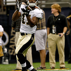 August 12, 2011; New Orleans, LA, USA;  New Orleans Saints wide receiver John Chiles (11) prior to kickoff of a preseason game against the San Francisco 49ersat the Louisiana Superdome. Mandatory Credit: Derick E. Hingle