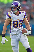 25 November 2012: Tight end (82) Kyle Rudolph of the Minnesota Vikings catches a pass and runs against the Chicago Bears during the second half of the Bears 28-10 victory over the Vikings in an NFL football game at Soldier Field in Chicago, IL.