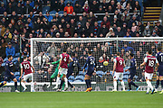 Burnley forward Ashley Barnes (10) scores a goal 1-0 during the Premier League match between Burnley and West Ham United at Turf Moor, Burnley, England on 9 November 2019.