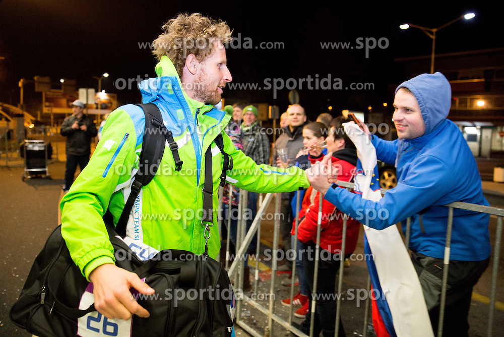 Klemen Bauer at reception of Slovenia team arrived from Winter Olympic Games Sochi 2014 on February 25, 2014 at Airport Joze Pucnik, Brnik, Slovenia. Photo by Vid Ponikvar / Sportida