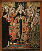 Consecration of St Augustin, or Consagracio de Sant Agusti, c. 1462-75, tempera and stucco relief with gold leaf, from the St Augustine Altarpiece, by Jaume Huguet, 1412-92, in Gothic style, in the Museu Nacional d'Art de Catalunya, Barcelona, Spain. The painting depicts the saint being crowned by several bishops, in contemporary dress, with a donor reading on the left. This is a panel from the altarpiece from the convent church of Sant Agusti Vell, Barcelona, commissioned by the Guild of Tanners and painted by Jaume Huguet and Pau Vergos. The MNAC holds 7 of the 8 surviving panels from this altarpiece. Picture by Manuel Cohen