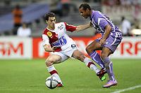 FOOTBALL - FRENCH CHAMPIONSHIP 2010/2011 - L1 - TOULOUSE FC v STADE BRESTOIS - 07/08/2010 - PHOTO ERIC BRETAGNON / DPPI - FILIPPOS DARLAS (BREST) / DANIEL BRAATEN (TFC)