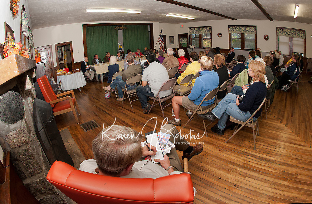 Wicwas Lake Grange welcomed a good turnout as host to the question and answer forum with the House of Representatives for Belknap County District 2 Candidate's Night on Wednesday evening.   (Karen Bobotas/for the Laconia Daily Sun)