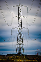 Electricity pylons on the Black Law Wind Farm, South Lanarkshire, Scotland<br /> <br /> (c) Andrew Wilson | Edinburgh Elite media