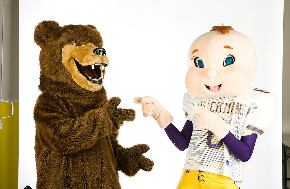 PATRICK T. FALLON/Missourian 310-920-2185.The Rock Bridge high school Bruin mascot and Hickman Kewpie's mascot fight head to head in studio on Thursday, Sept. 18, 2009.