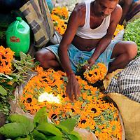 Asia, India, Calcutta. Scene from the flower market in Calcutta.