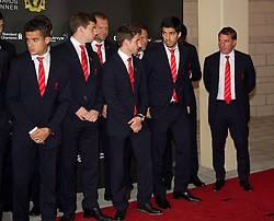 LIVERPOOL, ENGLAND - Tuesday, May 6, 2014: Liverpool's Luis Suarez and manager Brendan Rodgers on the red carpet for the Liverpool FC Players' Awards Dinner 2014 at the Liverpool Arena. (Pic by David Rawcliffe/Propaganda)