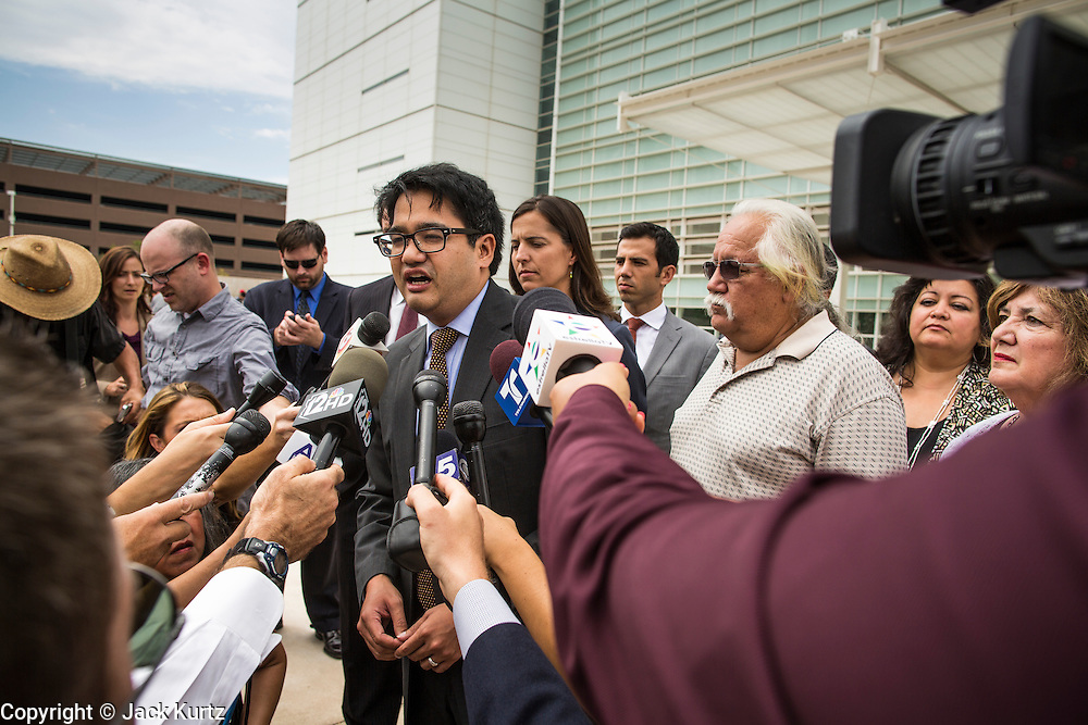 21 AUGUST 2012 - PHOENIX, AZ: OMAR JADWAT, senior staff attorney for the ACLU Immigrants' Rights Project, at a press conference after a hearing in the US court in Phoenix. A handful of protesters waited outside the Sandra Day O'Connor Courthouse in Phoenix Wednesday while lawyers from the American Civil Liberties Union (ACLU) and Mexican American Legal Defense and Education Fund (MALDEF) sparred with lawyers from Maricopa County and the State of Arizona over the constitutionality of section 2B of SB 1070, Arizona's tough anti-immigrant law. Most of the law was struck down by the US Supreme Court in June, but the Justices let section 2B stand pending further review. The suit is being heard in District  Judge Susan Bolton's court. It was Judge Bolton who originally struck down SB 1070 in 2010. A ruling is expected later in the year.   PHOTO BY JACK KURTZ