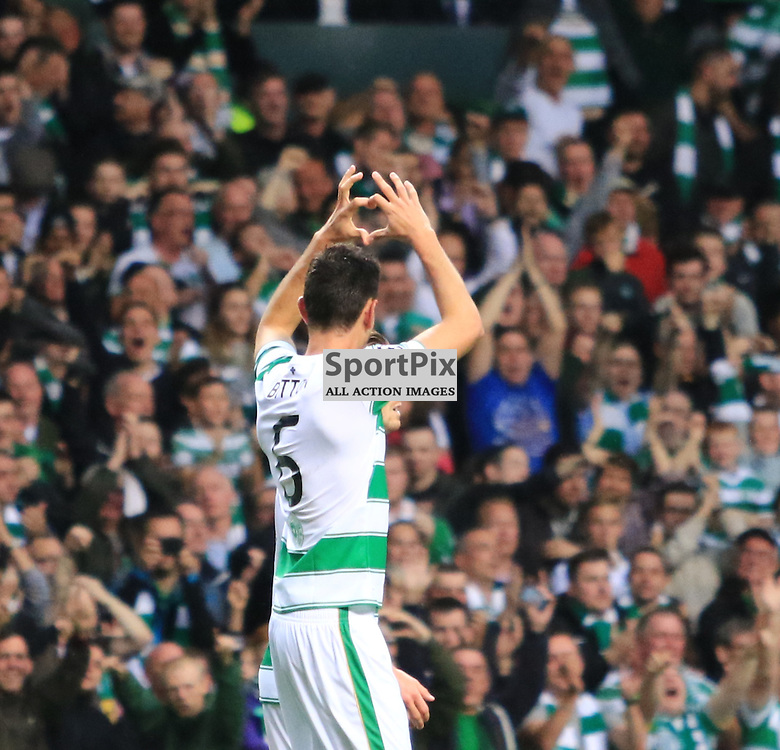 Celtic's Nir Biton  celebrates after heading home the second goal during the Glasgow Celtic FC v Malmö FF Champions League Play-Off  19th August 2015 ©Edward Linton   SportPix.org.uk