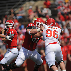 Apr 18, 2009; Piscataway, NJ, USA; Rutgers C Ryan Blaszczyk (61) blocks DT Charlie Noonan (96) away from QB Domenic Natale (11) during the first half of Rutgers' Scarlet and White spring football scrimmage.