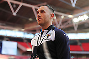 AFC Wimbledon defender Barry Fuller (2) arriving an Wembley during the The FA Cup 3rd round match between Tottenham Hotspur and AFC Wimbledon at Wembley Stadium, London, England on 7 January 2018. Photo by Matthew Redman.