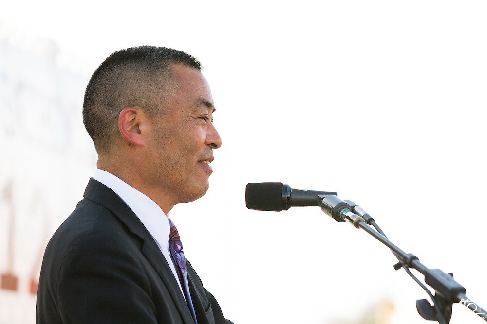 Milpitas Superintendent Cary Matsuoka accepts the Cal Hills Class of 2012 at graduation on June 15, 2012.  Photo by Stan Olszewski/SOSKIphoto.