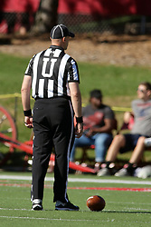 08 October 2016: Umpire Edward Laco.  NCAA FCS Missouri Valley Football Conference Football game between Youngstown State Penguins and Illinois State Redbirds at Hancock Stadium in Normal IL (Photo by Alan Look)