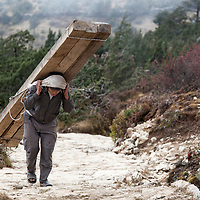 A porter carrying wooden beams from Khumjung to Syangboche. In the past most <br /> of the porters were Sherpas. Nowadays most of them are generally members from other ethnic groups.