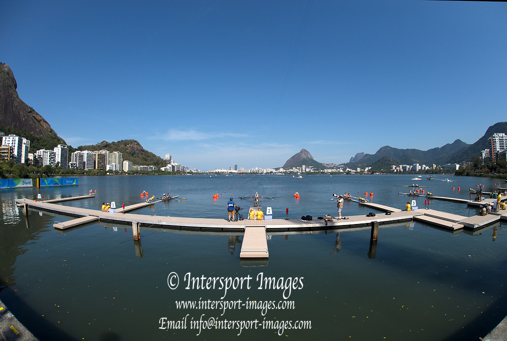 Rio de Janeiro. BRAZIL. General View of the start installation , 2016 Olympic Rowing Regatta. Lagoa Stadium,<br /> Copacabana,  &ldquo;Olympic Summer Games&rdquo;<br /> Rodrigo de Freitas Lagoon, Lagoa. Local Time 11:13:31  Saturday  06/08/2016<br /> [Mandatory Credit; Peter SPURRIER/Intersport Images]