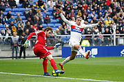 Mariano Diaz of Lyon and Gurtner Régis of Amiens during the French championship L1 football match between Olympique Lyonnais and Amiens, on April 14, 2018 at Groupama stadium in Decines Charpieu near Lyon, France - Photo Romain Biard / Isports / ProSportsImages / DPPI
