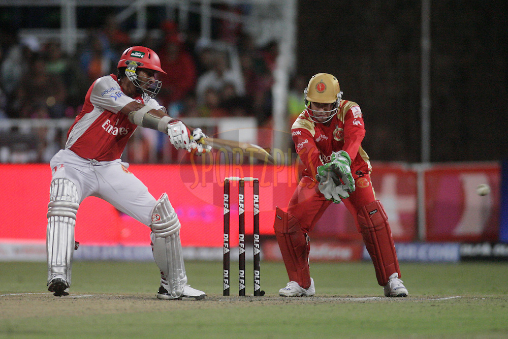 DURBAN, SOUTH AFRICA - 1 May 2009. Kumar Sangakkara plays a shot during the IPL Season 2 match between Kings X1 Punjab and the Royal Challengers Bangalore held at Sahara Stadium Kingsmead, Durban, South Africa..