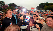 "Arcadia, CA, USA, Oct. 10th 2003: Arnold Schwarzenegger continued his ""California Comeback Express"" campaign tour troughout California in his attemt to perusade the californians to vote for recall of Gray Davis and elect the actor as the new Governor of California.<br /> <br /> At the Los Angeles Arboretum in Arcadia, Arnold greeting supporteres.<br /> <br />  *** Local Caption *** , posted on Corbis web ,"